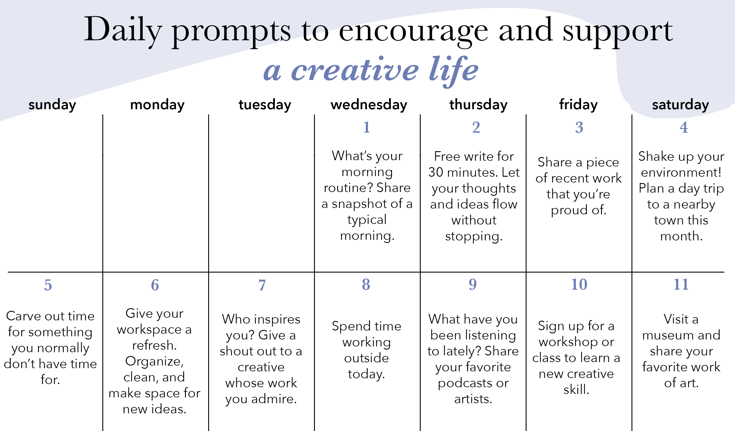 Creative Resource: Daily Creative Prompts for May